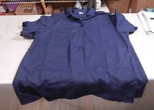 "New Lab Coat Adult L Navy Blue  25.5"" Armpit  30"" Long Cotton Blend Made in USA"