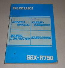 Betriebsanleitung Suzuki Motorrad GSX-R 750 Stand 12/1984
