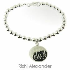 925 Sterling Silver Monogram Ball Bead Bracelet