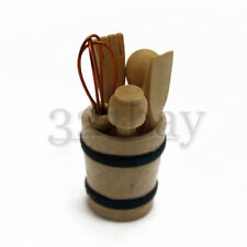 Set Dollhouse Kitchen Utensils 1 Inch Scale Dollhouse Wooden Cookware Supplies
