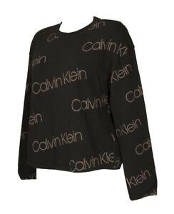 Felpa maglia in cotone girocollo manica lunga donna CK CALVIN KLEIN articolo QS6