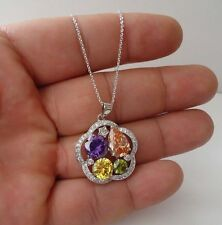 925 STERLING SILVER MULTI-COLOR FLOWER NECKLACE PENDANT / SIZE 27MM BY 25MM