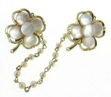 Vintage 1950s Floral flower crystal ball Sweater Clip Faux Pearl Gold tone Chain Rare!