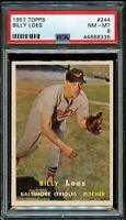 1957 Topps BB Card #244 Billy Loes Baltimore Orioles PSA NM-MT 8 !!!