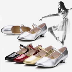 Women Girl Tango Ballroom Latin Salsa Party Dance Shoes Glitter Heel Dancewear