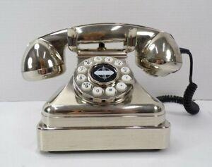 Pottery Barn Crosley Kettle Classic Desk Phone Brushed Chrome Finish READ! #8992