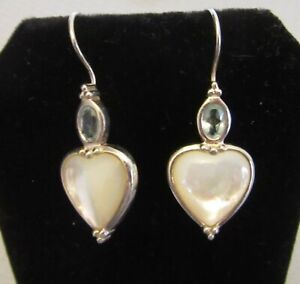 925 MOTHER OF PEARL HEART & BLUE TOPAZ MARQUISE EARRINGS signed A Thailand