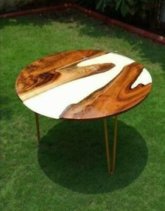 """24"""" Epoxy Resin Wooden Center coffee Table Top Home Office Decor"""