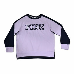 Victoria's Secret Pink Sweatshirt Crew Neck Pullover Purple M Damaged Casual Nwt