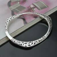 925 Sterling Solid Silver Carving Bangle Bracelets Women Lover Jewelry Xmas Gift