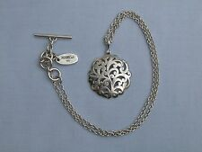 SUPERB LOIS HILL SOLID STERLING SILVER SCROLL PENDANT ON TOGGLE FASTENING CHAIN