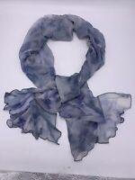 NWT Lauren Ralph Lauren  silk Blue floral  chiffon ruffle metalli scarf  B56
