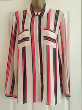BNWT NEXT Red Black Cream Stripe Chiffon Long Sleeved Blouse Top Size 18