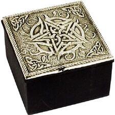 Fancy Pentagram Metal Lidded Trinket Box Wiccan Pagan Metaphysical Home Decor