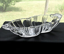 Vintage Fostoria Glass Ribbed Sunray No. 2510 Line Crystal Handled Celery Dish