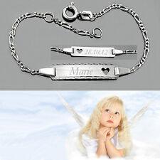 Baby Taufe Herz Ident Armband mit Namen Datum Gravur Echt Gold Weißgold 585 14KT