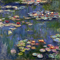 Dream-art Oil painting Monet - Summer landscape Water Lilies Lotus flowers art