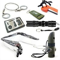 Survival Kit Whistle+Wire Saw+Flintstones+Flashlight+Sleeping Blanket+Knife Card