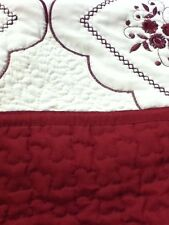 Beige Maroon Queen 100% Cotton 3pcs Quilt Embroidered 2 Pillow Shams Bedspread