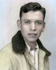"JOE MORRIS Sr. NAVAJO CODE TALKER WWII 8x10"" HAND COLOR TINTED PHOTOGRAPH"