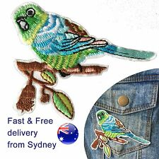 Budgie bird Iron on patch birds feather eucalyptus gum tree embroidery patches
