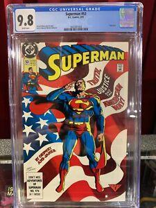 Superman #53 CGC 9.8, ICONIC FLAG COVER, DC COMICS 1991