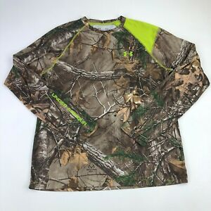 Under Armour RealTree Xtra Shirt Mens Large Camo Scent Control Long Sleeve Green