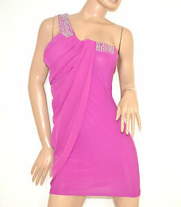 Mini abito donna vestito FUCSIA tubino dress kleid vestido miniabito clubwear 2