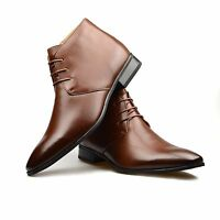 Mens Tan Leather Smart Formal Casual Lace Up Boots Shoes UK SIZE 6 7 8 9 10 11