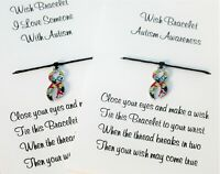 Autism Awareness Wish Bracelet Friendship Gift Card Charm Anklet Family Love