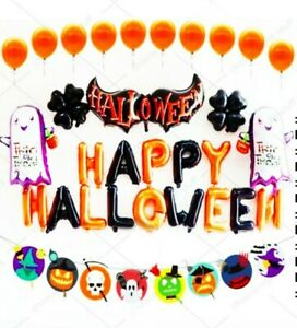 Happy Halloween Complete Party Foil Balloons Set Orange Black Trick or Treat UK