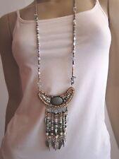 Modekette Bettelkette Damen Hals Kette lang Silber Schwarz Perlen Ethno Ibiza H7