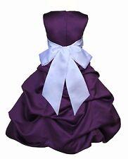 PURPLE PAGEANT TODDLER JUNIOR WEDDING FLOWER GIRL DRESS 2 3T 4 6 7 8 10 12 14 16