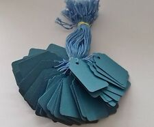 100 BLUE STRUNG PRICE TAGS 45MM X 28MM SWING TICKETS GIFT LABELS BLUE STRING