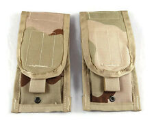 Lot of 2 NEW Double Mag Pouches Desert Camo, DCU Molle Double Magazine, US Army