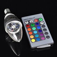 E14 3W RGB LED 16 Changement de Couleur Bougie Lampe + Télécommande
