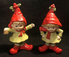 Vintage Lefton Pair Elf Pixie Figurines Bell Ringer Red Scarf Holly - Adorable!