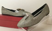 London Rebel Silver Lurex Tassel Trim Slip On Loafer Womens Sz EUR 41 US 10.5