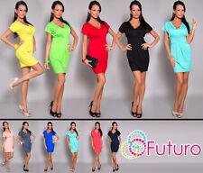 Sexy Womens Bubble Dress V Neck Tunic Short Sleeve Mini Dress Sizes 8-18 8491