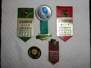 SET of 5 1960's OFFICIAL TABLE TENNIS Balkan Champs Bulgaria Badge Pin