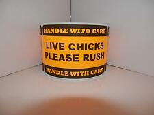 LIVE CHICKS PLEASE RUSH HANDLE WITH CARE Hatching Egg Label fluor orange 250/rl