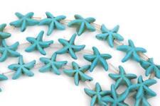 14mm Turquoise Blue STARFISH Beads, howlite beads, full strand, 26 beads how0474