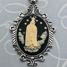 VIRGIN MARY OUR LADY OF GUADALUPE CAMEO SILVER PENDANT NECKLACE Quality Gift