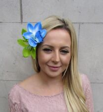 Grand double Lime Green Light Blue Orchid Fleur Pince à cheveux bibi Lily 6067
