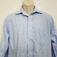 Brooks Brothers Mens Dress Shirt 14.2 32 Blue White Striped Non Iron Cotton L/S