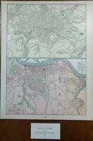 Vintage 1901 WORCESTER & SPRINGFIELD MASSACHUSETTS Maps ~ Old Antique Original
