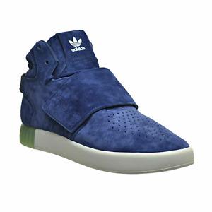 Adidas Tubular Invader Strap Trainer Shoes BB5041 Dark Blue Suede Shoes UK 9.5