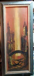 "MID Century Modern Skyline Abstract Cityscape,  Wall Art , Signed, 17""×40"""