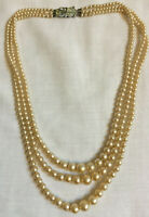 VINTAGE 3 Strand Faux Pearl Necklace - Rhinestone Clasp Made in England #9