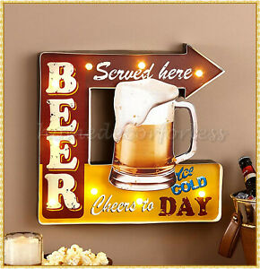 Lighted Vintage Retro Metal Beer Sign Light Box Man Cave Bar Pub Wall Art Decor